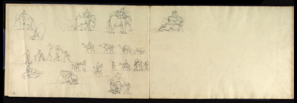 Sketches of the line of march with elephants & camels.